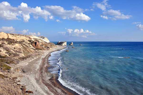 Aphrodite's Rock with the beach at Petra tou Romiou
